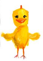 羽を広げ笑うヒヨコ  イラスト