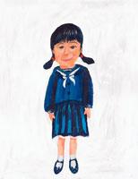 セーラー服姿の日本人女子 イラスト