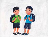 ランドセルを背負った2人の日本人小学生男子 イラスト