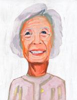 メガネを掛けた日本人老人女性 イラスト