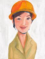 黄色いヘルメットをかぶった女性