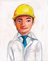ヘルメットに作業服を着た男性