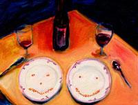 テーブルの上のワインとお皿
