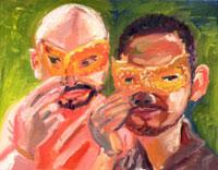 アイマスクを付けた二人の男性