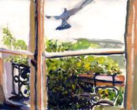 窓から見える景色と飛び立つ鳥