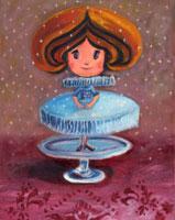 お皿の上に立つドレスを着た妖精
