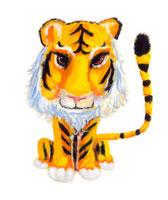 白い髭をした男の虎