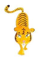 正面に向かってくる虎