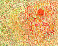 赤とオレンジの花畑にいる妖精