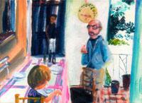 テラスのテーブルで会話をする子供と男性