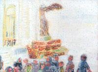 雪が降る街にいる人々と彫像