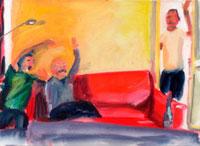 ソファに座って騒ぐ男性3人