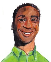 ライトグリーンのシャツを着た白い歯を見せて微笑む黒人男性
