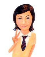 縞模様ネクタイの制服でピースサインをする女子高校生