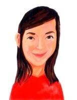 耳を出し長髪の赤いシャツを着た若い女性