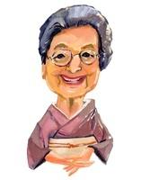和服を着てメガネをかけたおばあちゃん