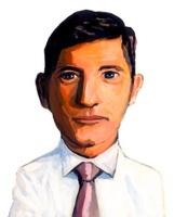 白いシャツに縦縞ネクタイの男性