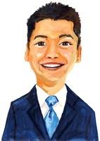 青いネクタイに紺スーツを着た笑っているビジネスマン