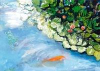 蓮池と泳ぐオレンジ色の鯉