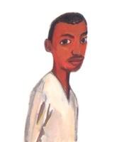 白いシャツを着た目の大きな黒人男性