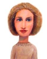 ベージュの服を着た青い目の女性