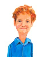 青いシャツを着た赤毛の少年