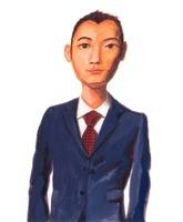 エンジ色のネクタイに濃紺スーツの短髪の男性