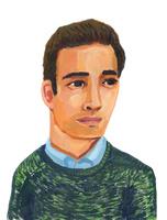 青いシャツにグリーンのセーターを着た男性