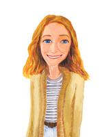ベージュのジャケット&ボーダーシャツを着た金髪の青い目の女性