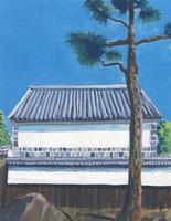 白壁と瓦屋根と松
