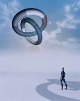 輪を見上げる人イメージ CG