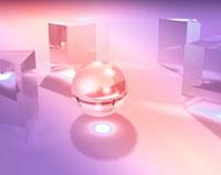 地球と柱(ピンク) CG
