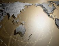 世界地図と目盛りの合成 CG