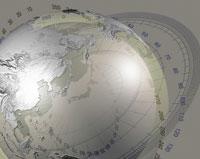 地球儀と目盛りの合成 CG