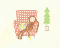 ソファーに座る猿とプレゼント イラスト
