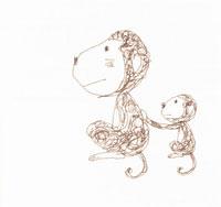 猿の親子 イラスト