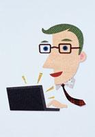 パソコンをする男性 イラスト