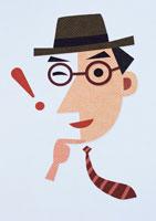 ウインクするビジネスマンの顔 イラスト