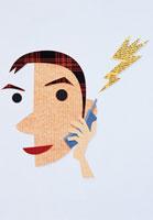 携帯電話で話す男性 イラスト