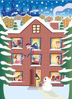 雪景色とアパートメント 02130010026| 写真素材・ストックフォト・画像・イラスト素材|アマナイメージズ