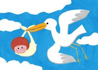 コウノトリが赤ちゃんを運ぶ 02130010062| 写真素材・ストックフォト・画像・イラスト素材|アマナイメージズ
