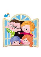 窓を開く家族 02130010063| 写真素材・ストックフォト・画像・イラスト素材|アマナイメージズ