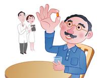 薬を飲む男性と医師と看護師