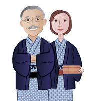 温泉と浴衣姿の中年夫婦