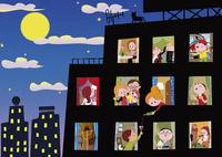夜景とマンションと人々の生活 02130010109| 写真素材・ストックフォト・画像・イラスト素材|アマナイメージズ