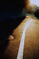 日ざしの差す道路