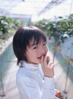 イチゴを食べている男の子 02148011081| 写真素材・ストックフォト・画像・イラスト素材|アマナイメージズ