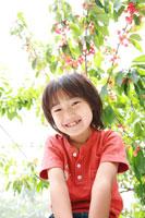 さくらんぼと男の子 02148011575| 写真素材・ストックフォト・画像・イラスト素材|アマナイメージズ