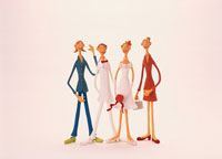 新郎新婦と2人の友達  クラフト 02157010032| 写真素材・ストックフォト・画像・イラスト素材|アマナイメージズ