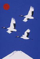 富士と飛ぶ鶴